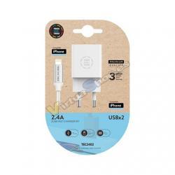 CARGADOR DOBLE + CABLE MICRO USB TECH ONE TECH - Imagen 1