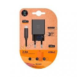 CARGADOR DOBLE + CABLE USB-C TECH ONE TECH NEGRO - Imagen 1