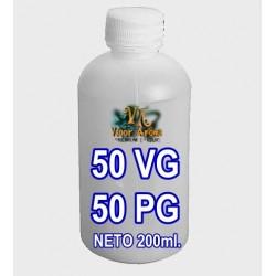 BASE E-LIQUID 50VG - 50PG 200ml BOTELLA 250ml. PE BLANCA