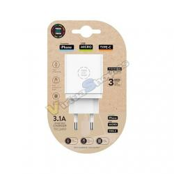 CARGADOR TECH ONE TECH TRIPLE DE PARED BLANCO - Imagen 1