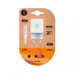 CARGADOR DOBLE CABLE USB-C TECH ONE TECH BLANCO - Imagen 1