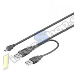 CABLE USBx2-AM A MINI-USB 5 PIN 1M