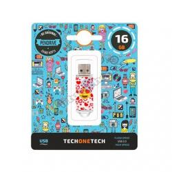 PENDRIVE 16GB TECH ONE TECH EMOJITECH HEART-EYES - Imagen 1