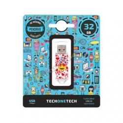 PENDRIVE 32GB TECH ONE TECH EMOJITECH HEART-EYES - Imagen 1