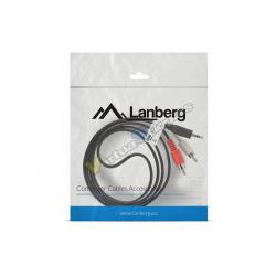 CABLE ESTEREO LANBERG JACK 3.5MM/2X RCA MACHO 1.5M - Imagen 1