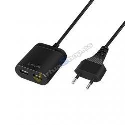 CARGADOR USB LOGILINK PA0255 NEGRO - Imagen 1