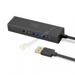 HUB 3 PUERTOS USB3.0+ RJ45 1LIFE NEGRO - Imagen 1