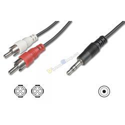 CABLE DIGITUS ADAPTADOR AUDIO JACK 3.5mm - 2x RCA 1,5m CCS 2x0,10/10 M/M - Imagen 1