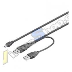 CABLE USBx2-AM A MINI-USB 5 PIN 1M