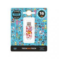 PENDRIVE 16GB TECH ONE TECH EMOJITECH HEART-EYES - Imagen 1