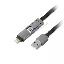 CABLE USB(A) A LIGHTNING/MICROUSB 1LIFE 1M NEGRO - Imagen 1